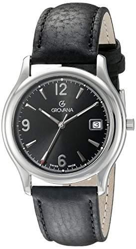GROVANA 12071137 Menschweizer Uhr Armbanduhr PH4900-C-PH01T Analog Leder schwarz