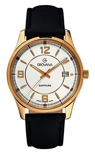 12151512 menGROVANA Herren-Armbanduhr 17251562 Analog-Anzeige und schwarzem Lederarmband 12151512