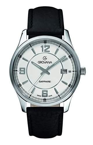 12151532 menGROVANA Herren-Armbanduhr 17251562 Analog-Anzeige und schwarzem Lederarmband 12151532