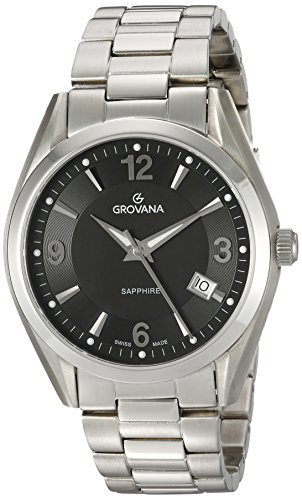 GROVANA 1566 1137 MenSchweizer Quarz Uhr mit schwarzem Zifferblatt Analog Anzeige und Silber Edelstahl Armband