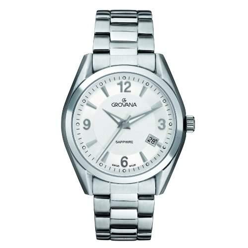 GROVANA 15661132 MenSchweizer Quarz-Armbanduhr mit silberfarbenem Zifferblatt Analog-Anzeige und Silber-Edelstahl-Armband