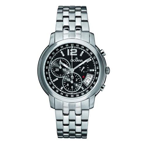 GROVANA 1581 9137 MenSchweizer Quarz Uhr mit schwarzem Zifferblatt Chronograph Anzeige und Silber Edelstahl Armband