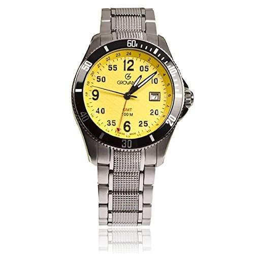 Grovana Mens Sport Analog Yellow Dial GMT watch - 16161136