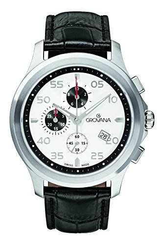 16339532 menGROVANA Herren Armbanduhr chronograph Leder schwarz 16339532