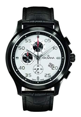 16339572 menGROVANA Herren Armbanduhr chronograph Leder schwarz 16339572