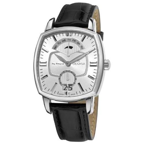 GROVANA 17171532 MenSchweizer Quarz-Armbanduhr mit silberfarbenem Zifferblatt Analog-Anzeige und schwarzem Lederarmband
