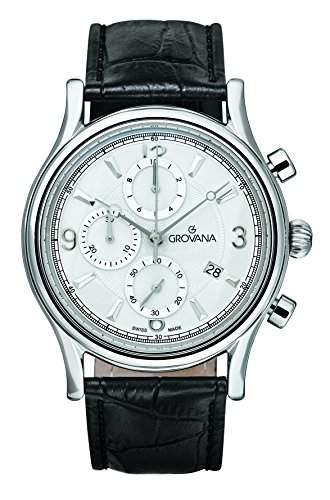 Grovana 17289532 MenQuarz-Uhr mit weissem Zifferblatt chronograph Anzeige und schwarzem Lederarmband 17289532