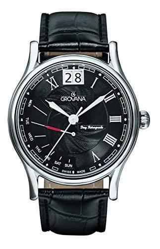 GROVANA 17291537 MenSchweizer Quarz-Uhr mit schwarzem Zifferblatt Analog-Anzeige und schwarzem Lederarmband