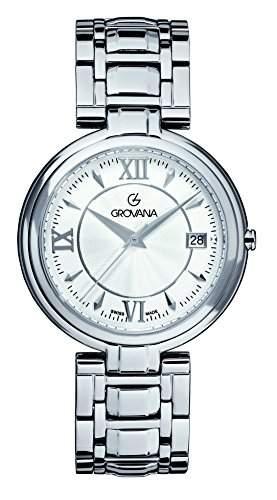 GROVANA 20971132 Unisex Schweizer Quarz-Uhr mit weissem Zifferblatt Analog-Anzeige und Silber-Edelstahl-Armband
