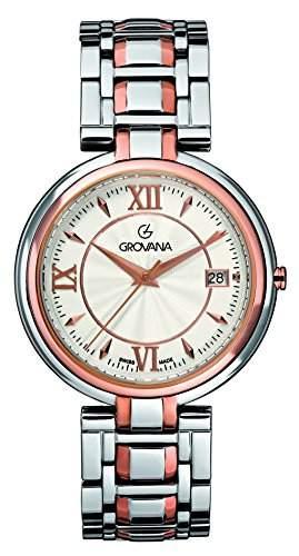 GROVANA 20971152 Schweizer Unisex-Uhr mit weissem Zifferblatt Analog-Anzeige und Zwei-Ton-Armband Edelstahl