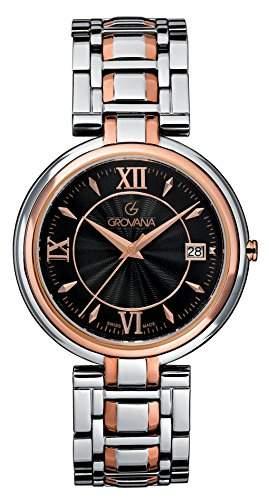 GROVANA 20971157 Schweizer Unisex-Uhr mit schwarzem Zifferblatt Analog-Anzeige und Zwei-Ton-Armband Edelstahl