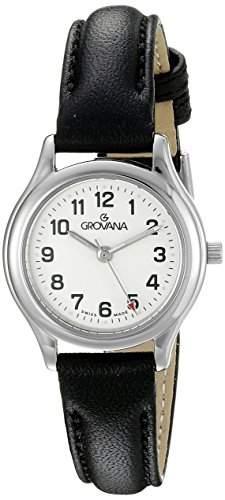 GROVANA 32071933 womenQuarz-Uhr mit weissem Zifferblatt Analog-Anzeige und schwarzem Lederarmband 32071933