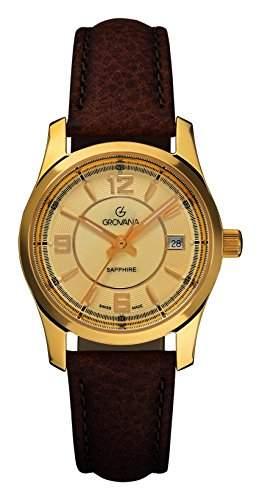 Grovana Damen Quarzuhr mit Gold Zifferblatt Analog-Anzeige und braunem Lederband 32151511
