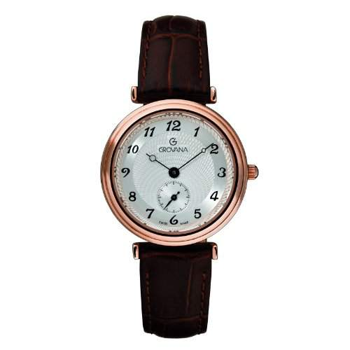 GROVANA 32761562 Womenschweizer Uhr Armbanduhr Analog Quarz Leder braun KL101