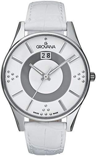 GROVANA 44111538 Womenschweizer Uhr Armbanduhr Analog Leder weiss
