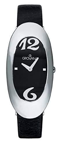 Grovana 44141534Quarz Damen Schweizer Uhr mit schwarzem Zifferblatt Analog-Anzeige und schwarz Lederband