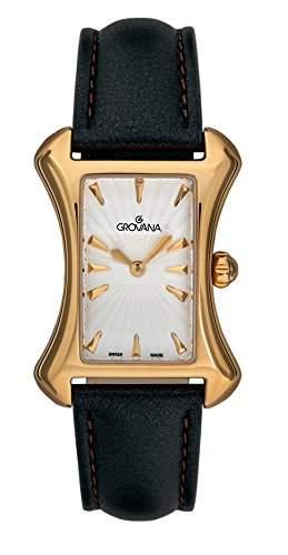Grovana 44221512Quarz Damen Schweizer Uhr mit weissem Zifferblatt Analog-Anzeige und schwarz Lederband