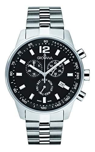 GROVANA Herren-Armbanduhr 70159137 Chronograph edelstahl Silber 70159137