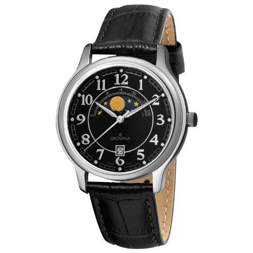 GROVANA 1026 1537 Menschweizer Uhr Armbanduhr PH4900 C PH01T Analog Leder schwarz