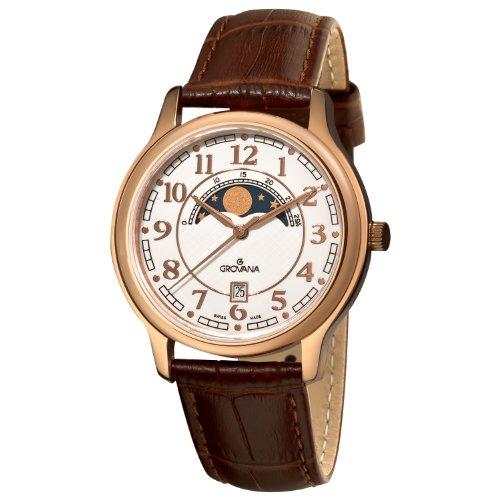 Grovana 1026 1563 Herren Schweizer Uhr mit Quarz Silber Zifferblatt Analog Anzeige und braunem Lederband