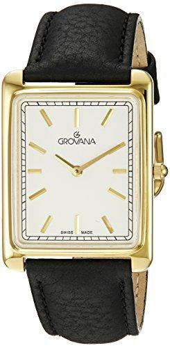Grovana 1040 1512 Herren Schweizer Uhr mit Beige Zifferblatt Quarz Analog Lederband Schwarz