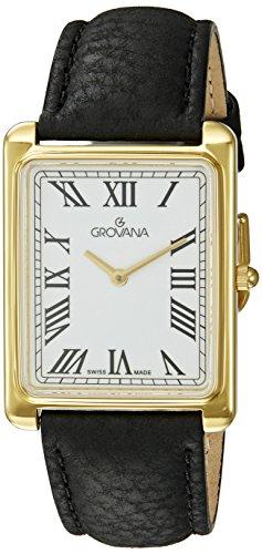 Grovana 1040 1518 Herren Schweizer Uhr mit weissem Zifferblatt Analog Anzeige Quarz und Schwarz Lederband