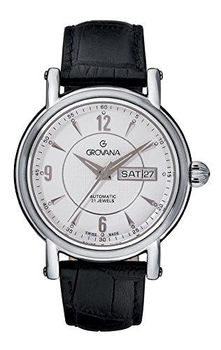 Grovana 1160 2532 Herren Schweizer Automatik Uhr mit weissem Zifferblatt Analog Anzeige und schwarz Lederband