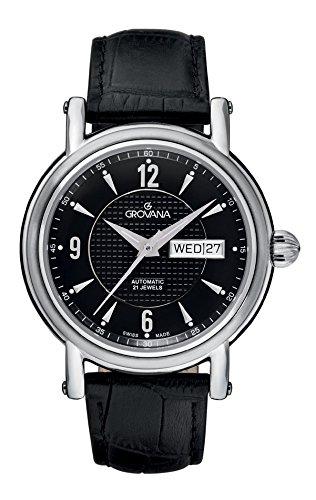 Grovana 1160 2537 Herren Schweizer Automatik Uhr mit schwarzem Zifferblatt Analog Anzeige und schwarz Lederband