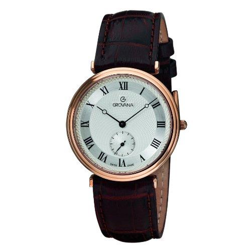 Grovana 1276 5568 Herren Schweizer Uhr mit Quarz Silber Zifferblatt Analog Anzeige und braunem Lederband