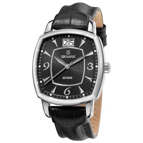 Grovana 1719 1537 Herren Schweizer Uhr mit schwarzem Zifferblatt Analog Anzeige und Quarz Schwarz Lederband