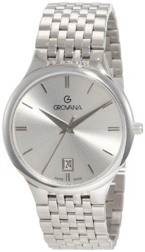 Grovana Herren Quarzuhr 2013 1137 Schweizer Uhr mit schwarzem Zifferblatt Analog Anzeige und Silber Edelstahl Armband