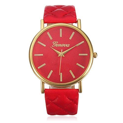 Franterd Elegant Uhr Modisch Zeitloses Design Klassisch Leder Roemische Ziffern Leder analoge Quarzuhr Armbanduhr Rot