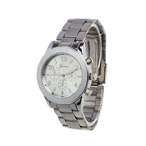 Franterd Elegant Uhr Modisch Zeitloses Design Klassisch Roemische Ziffern analoge Quarzuhr Armbanduhr Silber