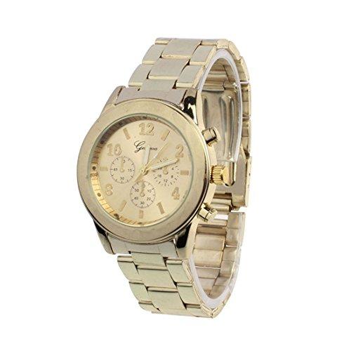 Franterd Elegant Uhr Modisch Zeitloses Design Klassisch Roemische Ziffern analoge Quarzuhr Armbanduhr Gold
