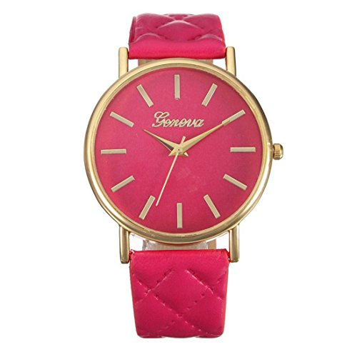 Franterd Elegant Uhr Modisch Zeitloses Design Klassisch Leder Roemische Ziffern Leder analoge Quarzuhr Armbanduhr Hot Pink