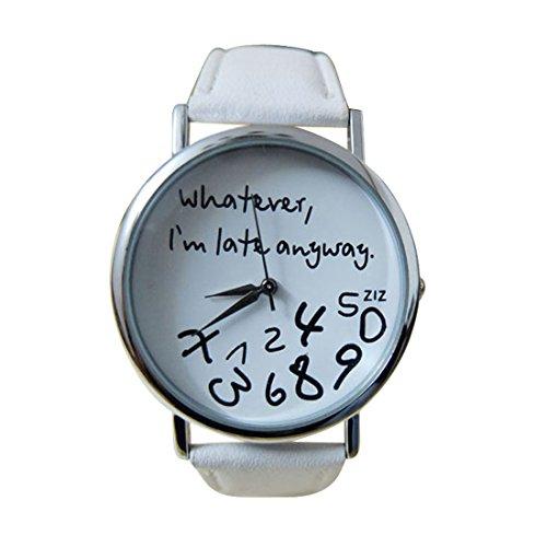 Franterd Elegant Uhr Modisch Zeitloses Design Klassisch Leder Roemische Ziffern Leder analoge Quarzuhr Armbanduhr Weiss