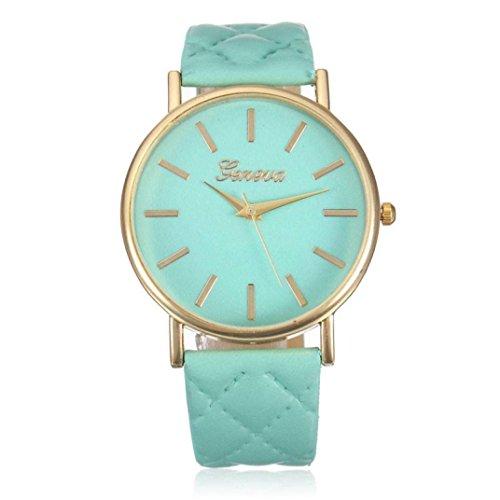 Franterd Elegant Uhr Modisch Zeitloses Design Klassisch Leder Roemische Ziffern Leder analoge Quarzuhr Armbanduhr Gruen