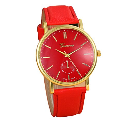 Franterd Uhren Unisex Herren Elegant Uhr Modisch Zeitloses Design Klassisch Leder Roemische Ziffern Leder analoge Quarzuhr Armbanduhr Rot