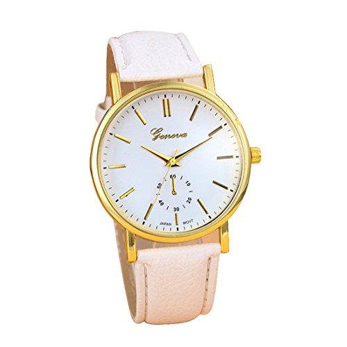 Franterd Uhren Unisex Herren Elegant Uhr Modisch Zeitloses Design Klassisch Leder Roemische Ziffern Leder analoge Quarzuhr Armbanduhr Weiss