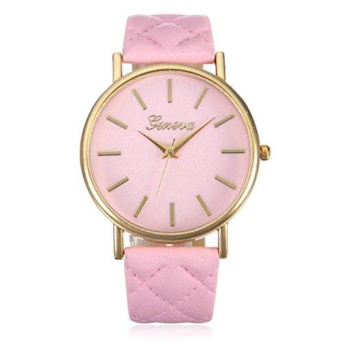 Franterd Elegant Uhr Modisch Zeitloses Design Klassisch Leder Roemische Ziffern Leder analoge Quarzuhr Armbanduhr Rosa