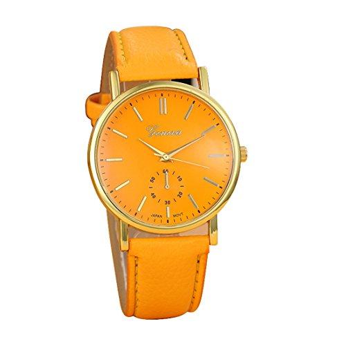Franterd Uhren Unisex Herren Elegant Uhr Modisch Zeitloses Design Klassisch Leder Roemische Ziffern Leder analoge Quarzuhr Armbanduhr Orange