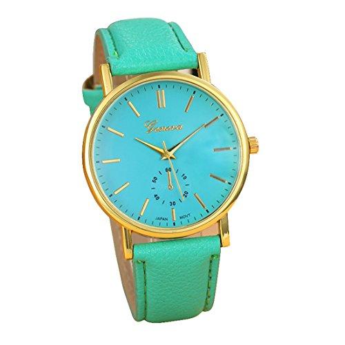 Franterd Uhren Unisex Herren Elegant Uhr Modisch Zeitloses Design Klassisch Leder Roemische Ziffern Leder analoge Quarzuhr Armbanduhr Gruen