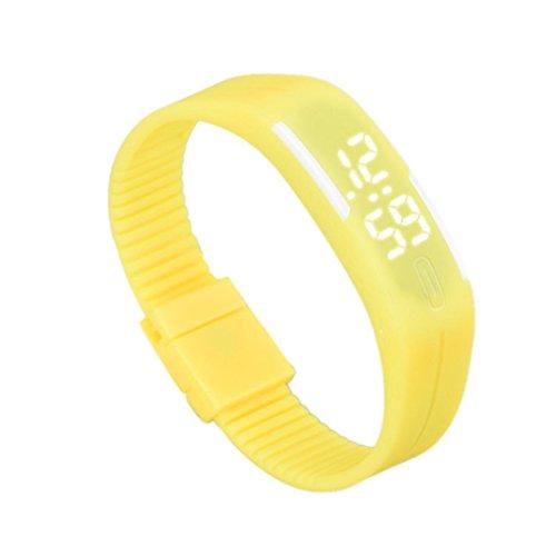 Franterd Mode Herren Frauen Elegant Rubber LED Uhr Datum Sports Armband Gelb