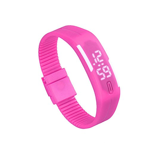 Franterd Mode Herren Frauen Elegant Rubber LED Uhr Datum Sports Armband Hot Pink