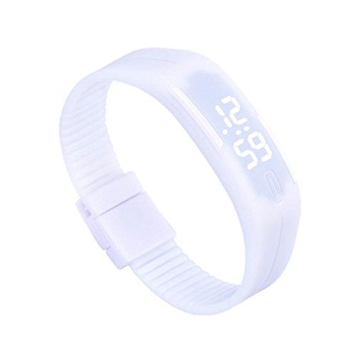 Franterd Mode Herren Frauen Elegant Rubber LED Uhr Datum Sports Armband Weiss