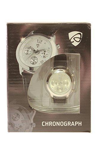 Auriol Chronograph Elegantes Design Edelstahlgehaeuse mit hochwertigem Lederarmband Schwarz