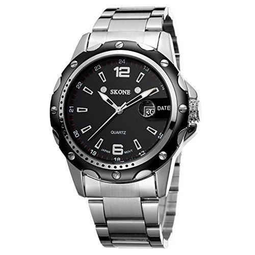 Mode Edelstahl Armband Kalender Herren Schwarz