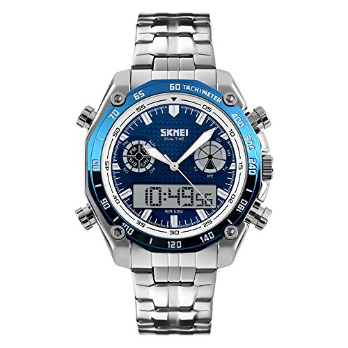 Mode Edelstahl Armband leuchtend Dualzeit Herren Blau