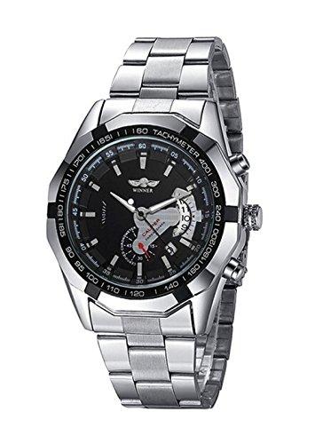 Mode Edelstahl Herren Automatik Mechanisch Uhr Schwarz