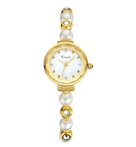 Einzigartig Elegant Leuchtuhr Strass Perle Armband Uhr Quarzuhr Fuer Damen Gold